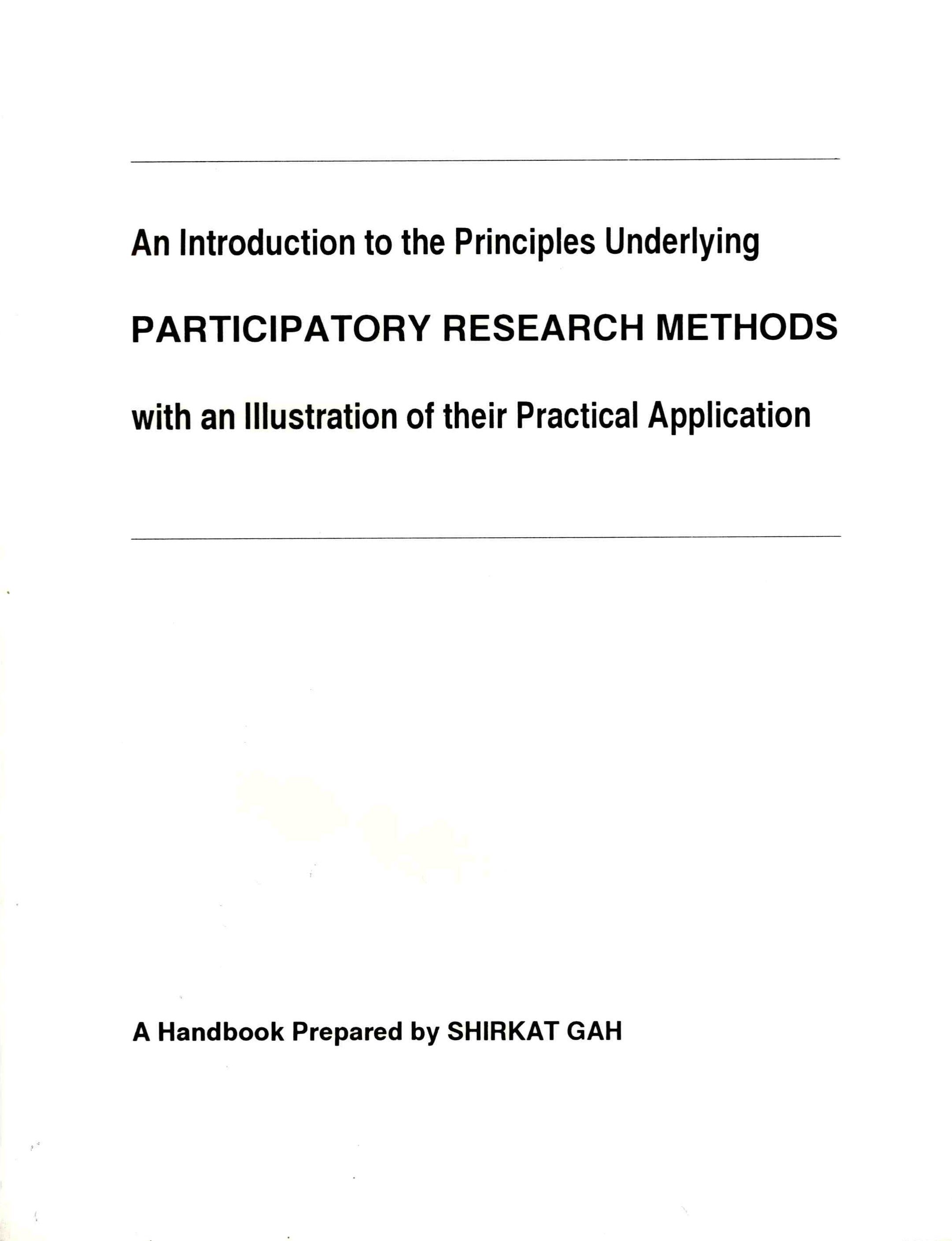 An Introduction to the Principles Underlying Participatory Research Methods
