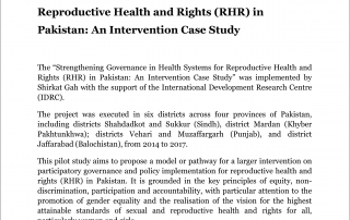 Strengthening Governance in Health Systems for Reproductive Health and Rights